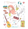 girl and music vector image