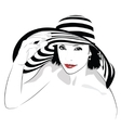 Girl with dark hair in big striped hat - vector image vector image