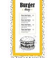 hand drawn burger menu vintage drawn vector image