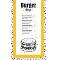 hand drawn burger menu Vintage hand drawn vector image vector image