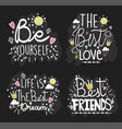 handwritten messages black background design vector image vector image