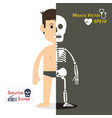 human and skeleton flat design vector image vector image
