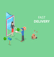 isometric flat concept fast delivery vector image
