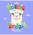 llama head in a wreath flowers lettering hola vector image