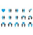 Love Pairs Flat Icon Set vector image
