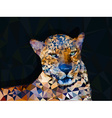 Low poly geometric of leopard vector image