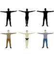 man with open arms silhouettes
