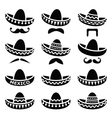 Mexican Sombrero hat with moustache icons vector image vector image