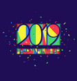 new year 2019 colorful background paper style vector image