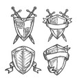 Old or retro medieval royal signs as shields