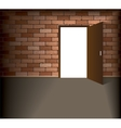 Open door in brick wall vector image