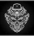 ornate skull in headphones and tiger head in vector image vector image