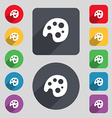 Palette icon sign A set of 12 colored buttons and vector image