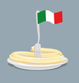 Plate of pasta with flag of Italy Spaghetti with a vector image vector image