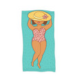 plump woman in swimsuit lying on beach mat vector image