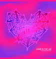 polygon heart icon on plastic pink purple colors vector image vector image