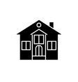 private house black icon sign on isolated vector image