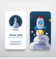 rocket abstract logo and business card vector image