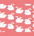 seamless pattern with a pair of lovers swans vector image