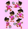 set cartoon little girl soccer player vector image vector image