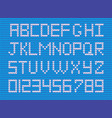 set of white knitted alphabet and numerals on blu vector image vector image