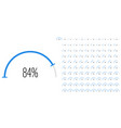 set semicircle percentage diagrams from 0 to vector image vector image