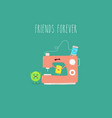 sewing machine button friends forever vector image