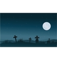 Silhouette of Halloween tomb and full moon vector image vector image