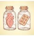 Sketch medical set in vintage style vector image vector image