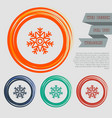 snowflake icon on red blue green orange vector image vector image