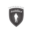 soldier white text black frame background i vector image