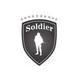 soldier white text black frame background i vector image