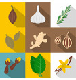 spices icon set flat style vector image vector image
