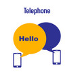 telephone hello phone receiver white background ve vector image