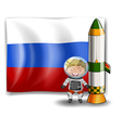The flag of Russia at the back of an explorer vector image vector image
