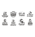 Travel adventure set icons Handwritten lettering vector image vector image