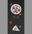vintage vertical pizza banner on black background vector image vector image