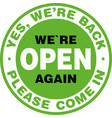 we are open again signage or entrance sticker vector image