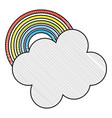 weather cloud with rainbow vector image vector image