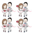 wedding cartoon in running athletics and sport vector image vector image