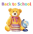 Teddy bear with books and globe Back to school vector image
