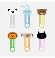 Paperclips with animal head set Panda rabit dog vector image