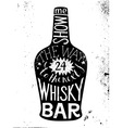 whisky silhouette with type design vector image