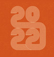2022 line design retro 70s numbers new year vector image
