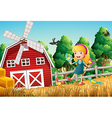 A smiling little girl at the farm with the birds vector image vector image