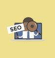 african businessman holding seo sign vector image vector image