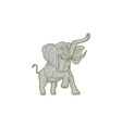 African Elephant Prancing Mono Line vector image vector image