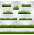 big set green grass borders transparent vector image vector image