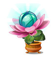 Blooming fantasy flower in the gold flower pot vector image