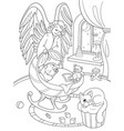 cartoon coloring book the guardian angel vector image vector image